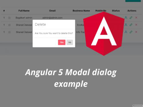 Angular 5 Modal dialog example
