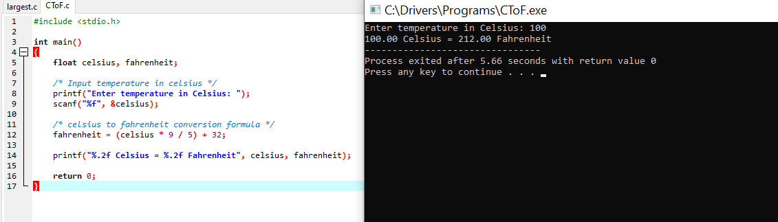 C To F Output