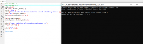 C Program to convert Decimal to Binary Number