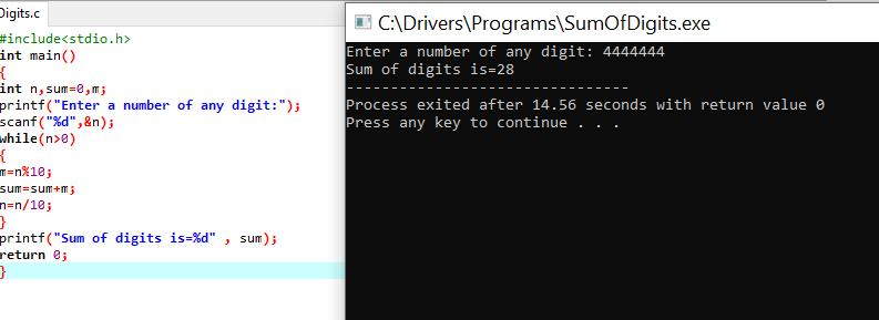 Output of the Sum of digits of a number