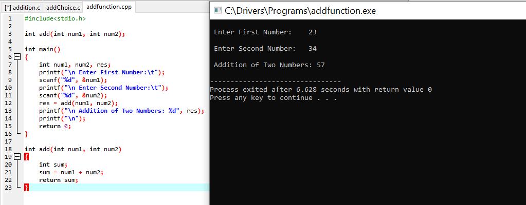 Addition through function