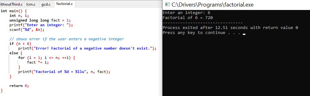 Demo factorial