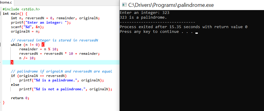 c program to check number is palindrome