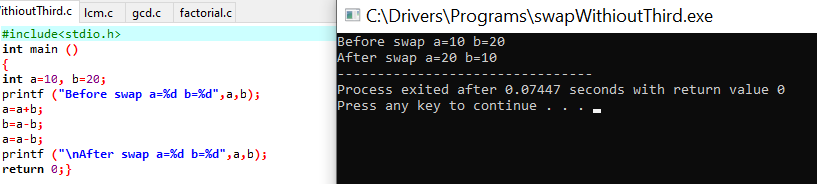 swap without third variable